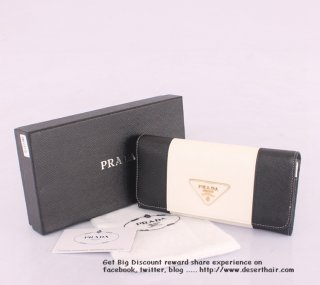 Prada 0506-1 White With Black Wallet